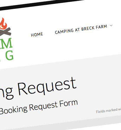 Breck Farm Booking Request screenshot